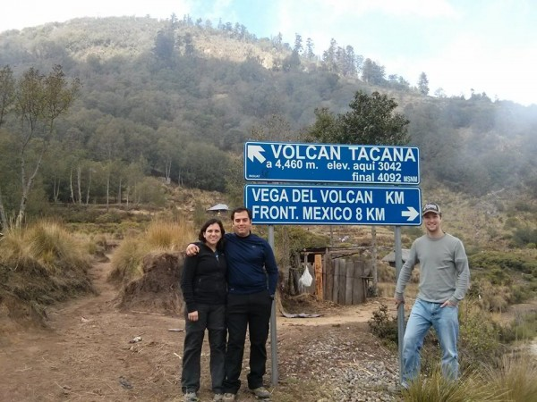At the trailhead to Tacana Volcano. The sign is not correct though, it is further than 4.4km.