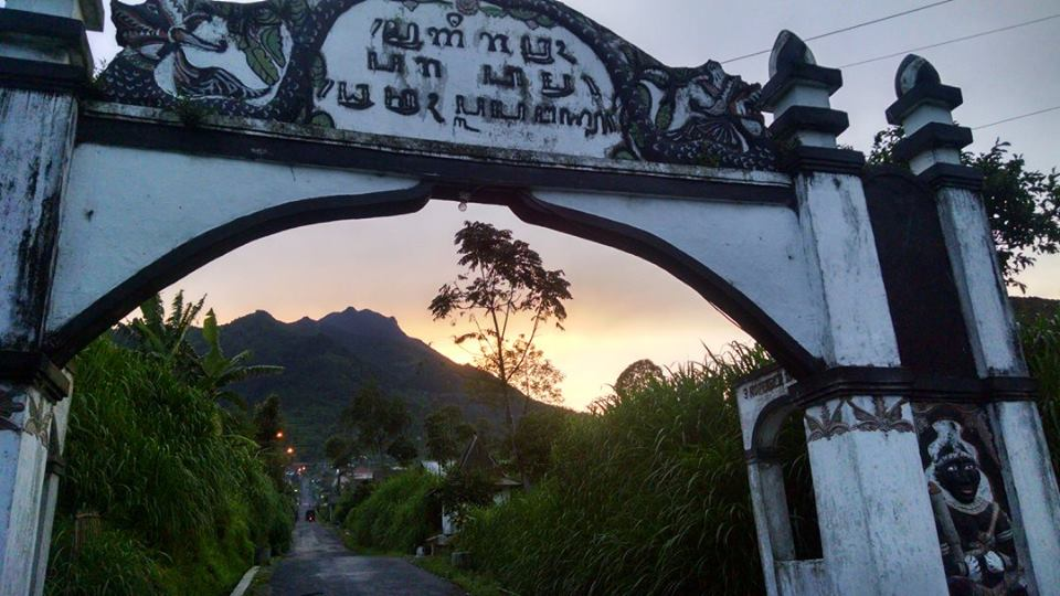 The road to base camp from Selo of Mt. Merapi at sunset before our hike