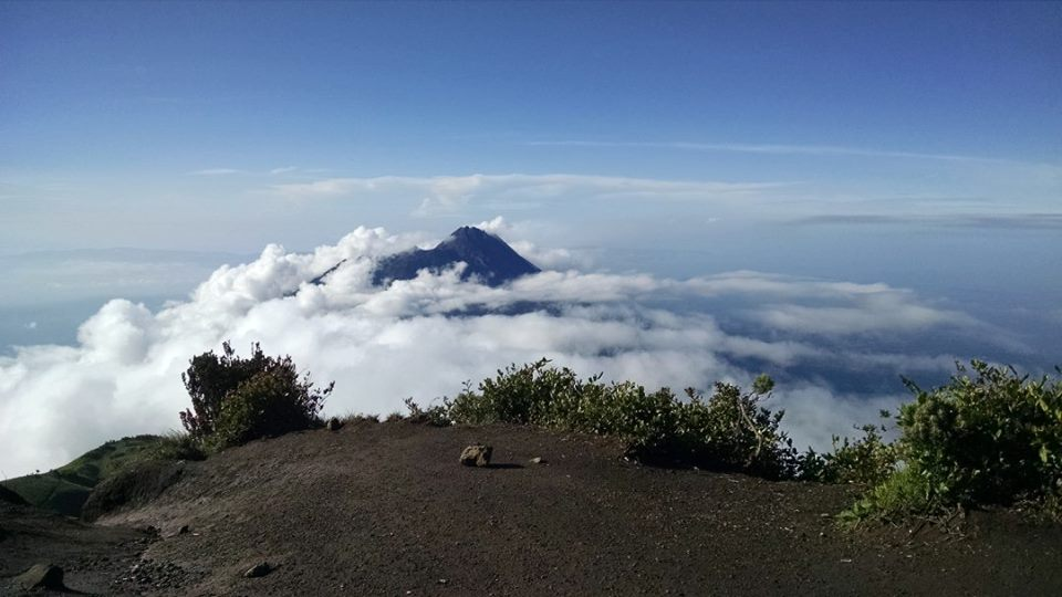 At the top of Merbabu looking over at Merapi which we climbed the night before