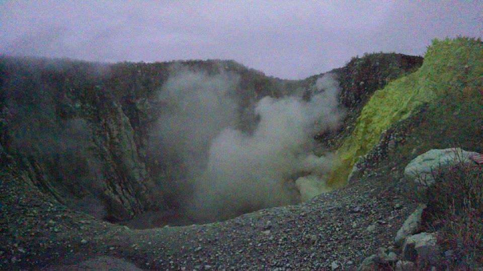 Looking into the crater of Mt. Sindoro after sunrise