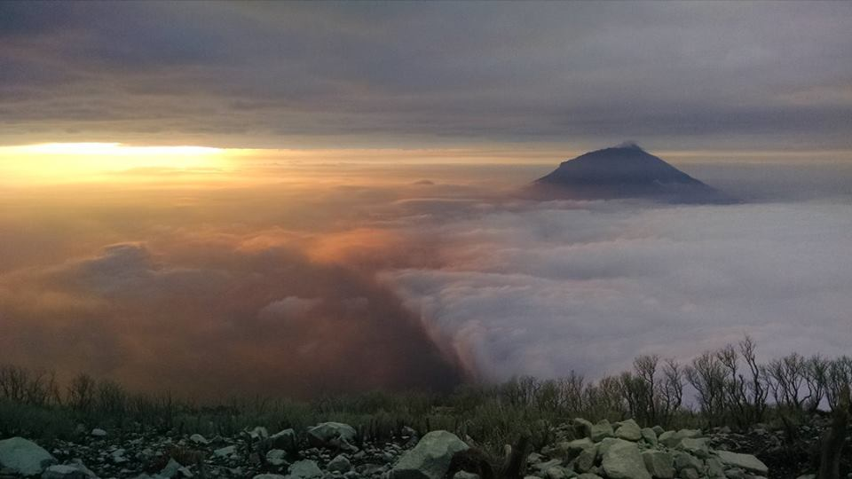 One of the most spectacular sunrises I've ever seen from Sindoro - with Mt. Sumbing sticking out of the clouds