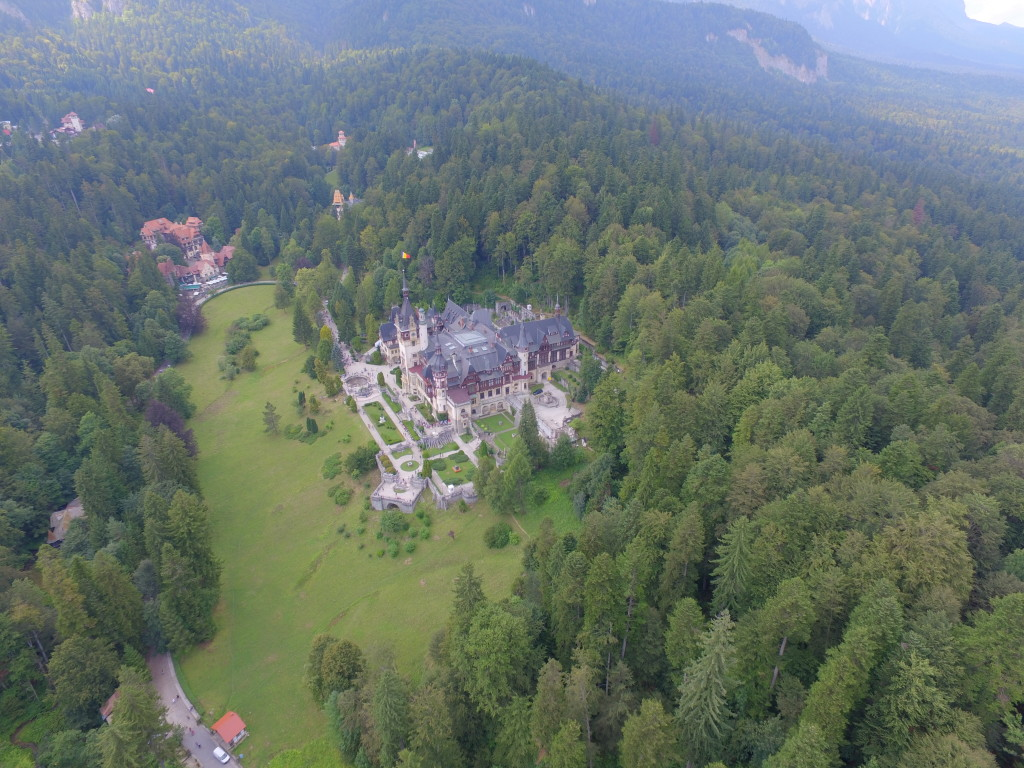 Drone shot of Pele? Castle in Sinaia, Romania