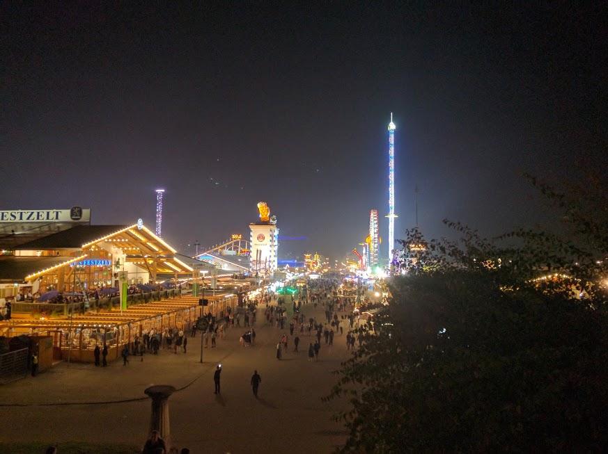 Nighttime view overlooking Oktoberfest