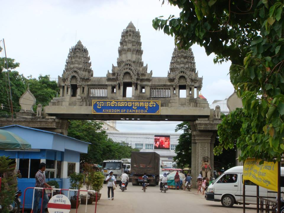 Crossing back into Thailand, leaving Cambodia.