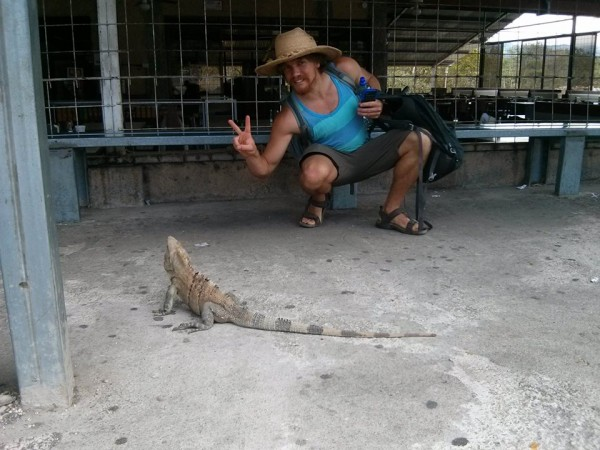Andrew with a wild iguana as we head into Nicaragua.