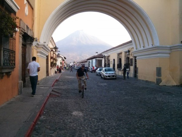 In Antigua before climbing Acatenango. Here you see one volcano close to the city.