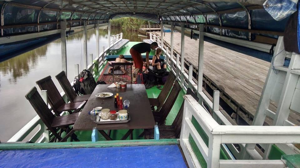 The klotok docked in Tanjung Puting National Park