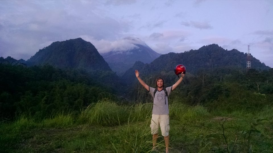 Mt. Merapi high in the clouds behind me (I'm on the south side of Merpai)