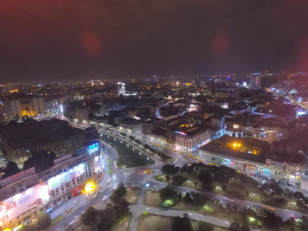 Night aerial view of Bucharest