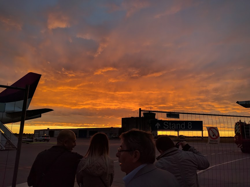 One of the most amazing sunsets I've seen while boarding my flight out of Stockholm.