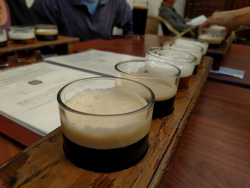 Beer flights at the Prague Beer Museum.
